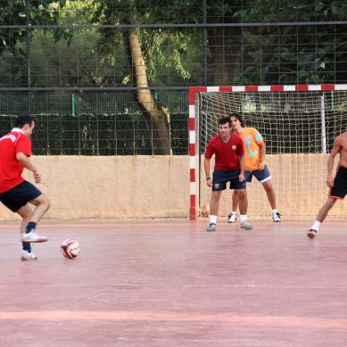 Men playing on a soccer field