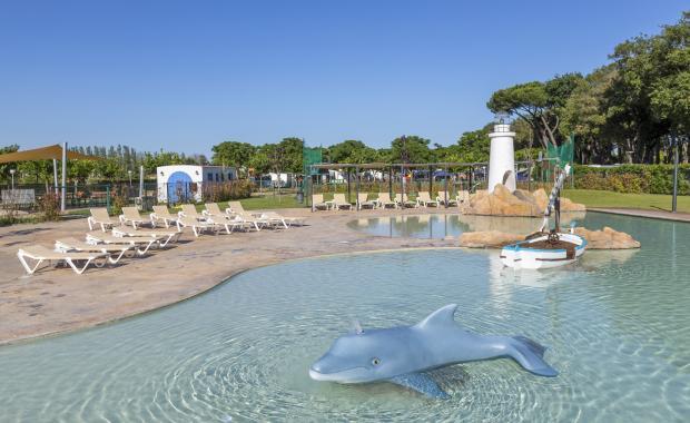 Dolfijnversiering in het zwembad