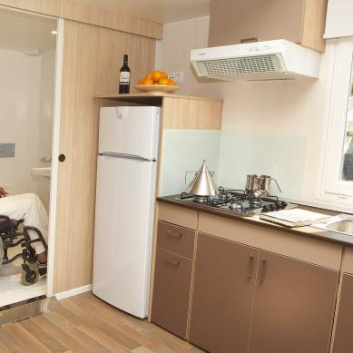 Interior of a mobile home adapted for the disabled
