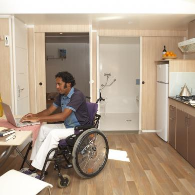 Dining room adapted for the disabled in the mobile home