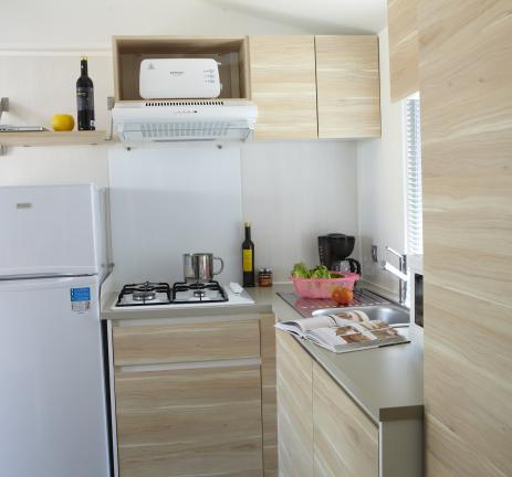 Kitchen of the Mobile Home Riuet Camping Valldaro Costa Brava
