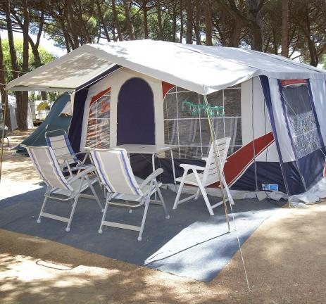 Tent set up at Camping Valldaro