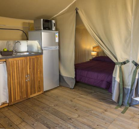 Kitchen glamping tent